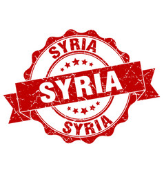 syria round ribbon seal vector image
