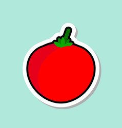 Tomato sticker on blue background colorful vector