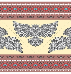 Tribal Boho Seamless Pattern with Owl vector
