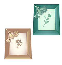 two wall-mounted wooden frame with designs on the vector image