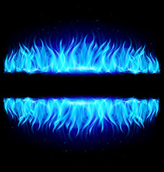 Two walls of fire in mirror reflection with blank vector