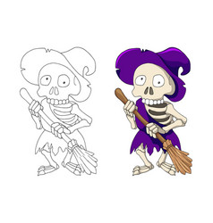 Undead human skeleton hag in violet robe and witch vector