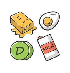 Vitamin d color icon butter egg and milk healthy vector