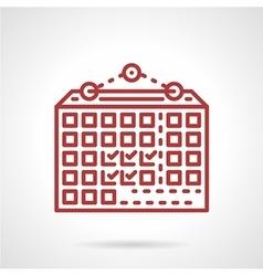 Wall calendar red line icon vector
