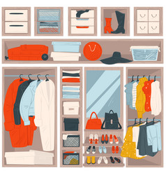 Wardrobe with clothes clothing and accessories vector