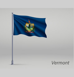 Waving flag vermont - state united states vector
