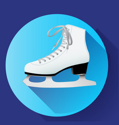 white classic ice skates icon on blue vector image