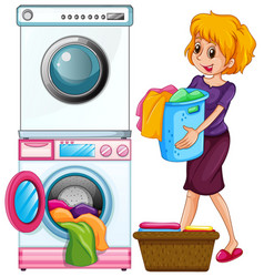 woman doing laundry on white background vector image