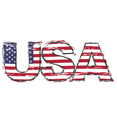 Word usa with american flag under it distressed vector
