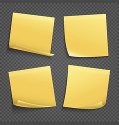 Yellow sticky notes isolated on transparent vector