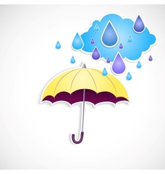 yellow umbrella and rain isolated vector image