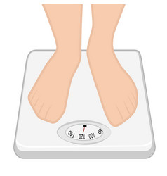 feet on the weight machine weight control vector image