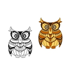 Funny brown owl with mottled feathers vector image vector image