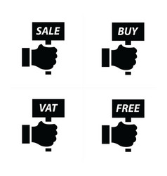 hand price and tag set vector image vector image