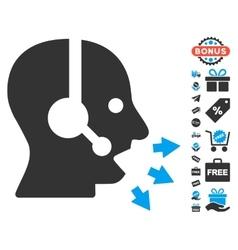 Operator Speak Icon With Free Bonus vector image vector image