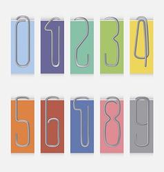 Set of metal paper clips vector image