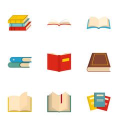 Book icons set cartoon style vector