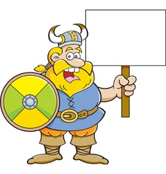 Cartoon viking holding a sign vector image vector image