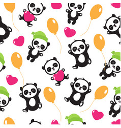 funny cartoon panda baby bear childrens vector image