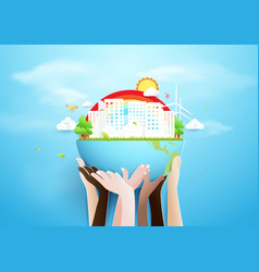 hands holding globe and eco city concept paper vector image
