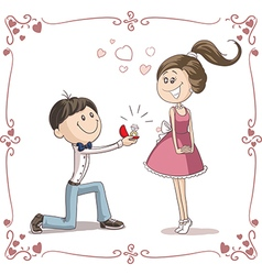 Man Asking Woman to Marry Him Cartoon vector image vector image