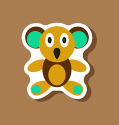 paper sticker on stylish background koala toy vector image vector image