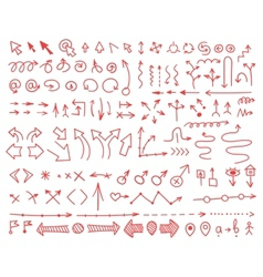 Set of arrows drawn by hand vector image vector image