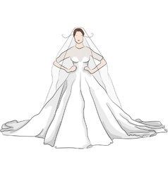 sketch magnificent wedding dress with red lips vector image vector image