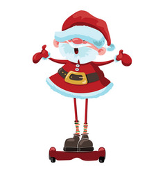 cartoon santa claus is riding a gyroscooter vector image
