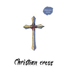 christian cross watercolor vector image vector image