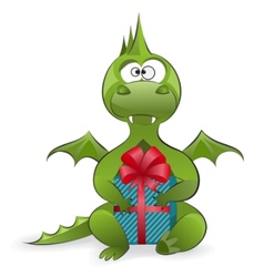dragon with a gift vector image