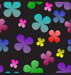 multi-colored clover on a black background vector image vector image