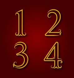 One two three four golden vintage numbers vector