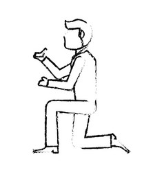 Portrait groom ring wedding sketch vector