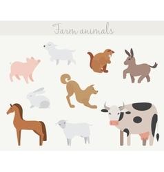 Set of cute cartoon farm animals vector image vector image