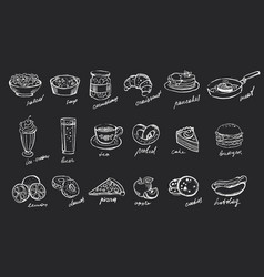 set of hand drawn food and drinks on black vector image