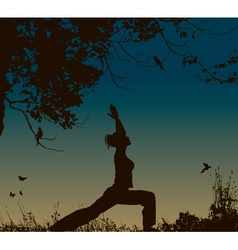 Silhouette of a Lady Doing Yoga vector image