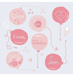 Valentines Day Balloons Set vector image