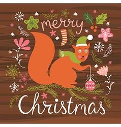 Christmas cute squirrel vector image vector image