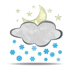 Climate cloud moon and snow vector