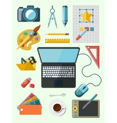 Designer workplace icons vector image vector image