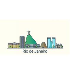 flat line rio de janeiro banner vector image vector image