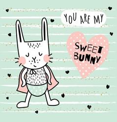 sweet bunny boy vector image