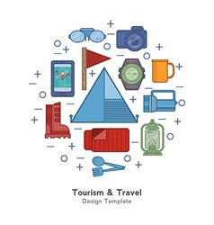 Tourism icons in the form of circle vector image vector image