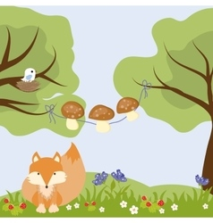 Woods Flowers Cartoon Mushroom Food Strawberry vector image vector image