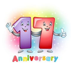 17 anniversary funny digits vector image