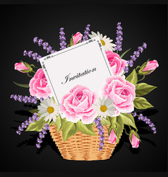 a basket full flowers with a card to write a vector image