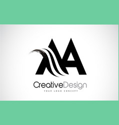 Aa a creative brush black letters design with vector