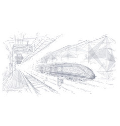 Abstract polygonal hand drawing modern train vector