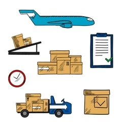 Air freight and shipping icons vector